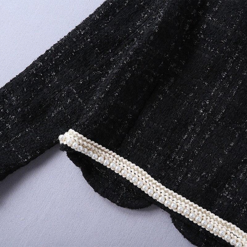 Manches Laine O Pleine Lady Mode Bonne Taille Piste Manteau Couleur Perles De Qualité Veste cou La Plus Femmes Mince Noir Outwear Perle qwxCp4EE