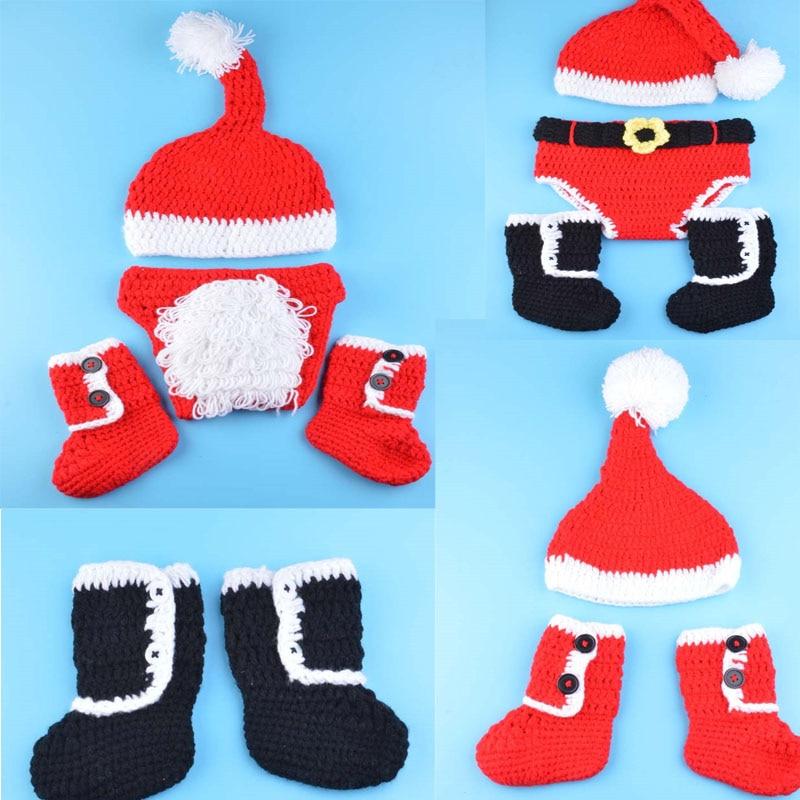 Foto Studio Hæklet Baby Jul Kostume Hat & Bluser / Bukser Sæt Nyfødte Baby Foto Props Småbørn Santa Fotografi Props 1set