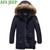 JEEP AFS גברים הגעה עבה מעיל גברים מעיל החורף חם מאוד מעיל גברים מעיל מעיל כיס רב כותנה ארוך בסדר גודל גדול 195