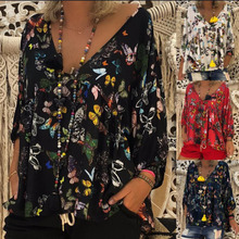 Large Size Womens Shirt 2019 Autumn Thin Butterfly Print Cropped Sleeve blouse S-5XL