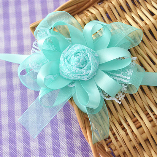 8pces/lot Tiffany Blue Wrist Flowers Bouquets Lace Rose Bride And  Bridesmaid Hand Flowers Tiffany