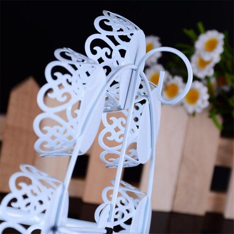 Delfenfen 1 pc deux couches carrousel 12 tasses blanc gâteau Stands pour mariage fête d'anniversaire fournisseurs gâteau boutique pour biscuits affichage - 5