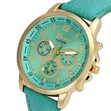 Hot 2017Newly Designed Superior Unisex Casual High Quality Geneva Faux Leather Quartz Analog Wrist Watch Watches Levert Dropship