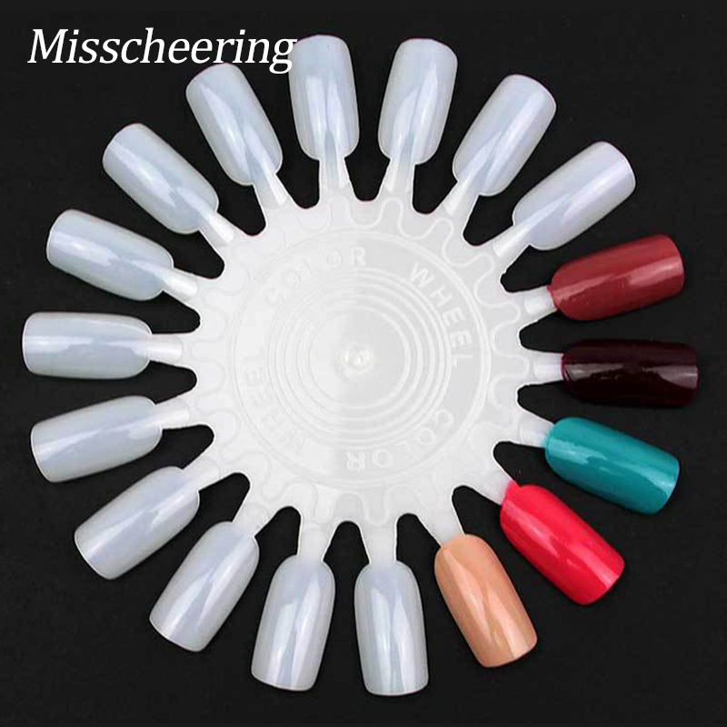False Nail Tips Display 10st / pack Natural White & Clear Acryl Nail Kleurenkaart Nagellak Practice Wheel, Nail Tools Supplies