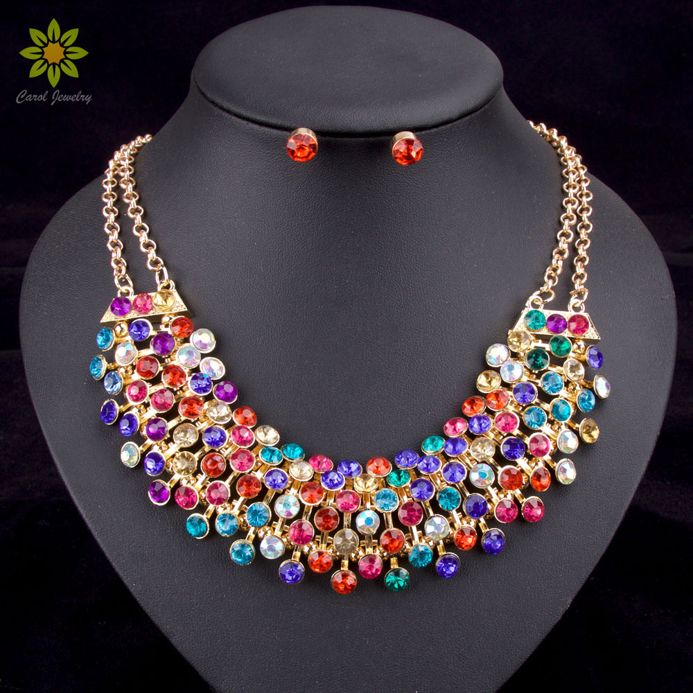 Fashion Crystal Rhinestone Bridal Jewelry Set Wedding Prom Party  Accessories Gold Color Necklace Earring Set For