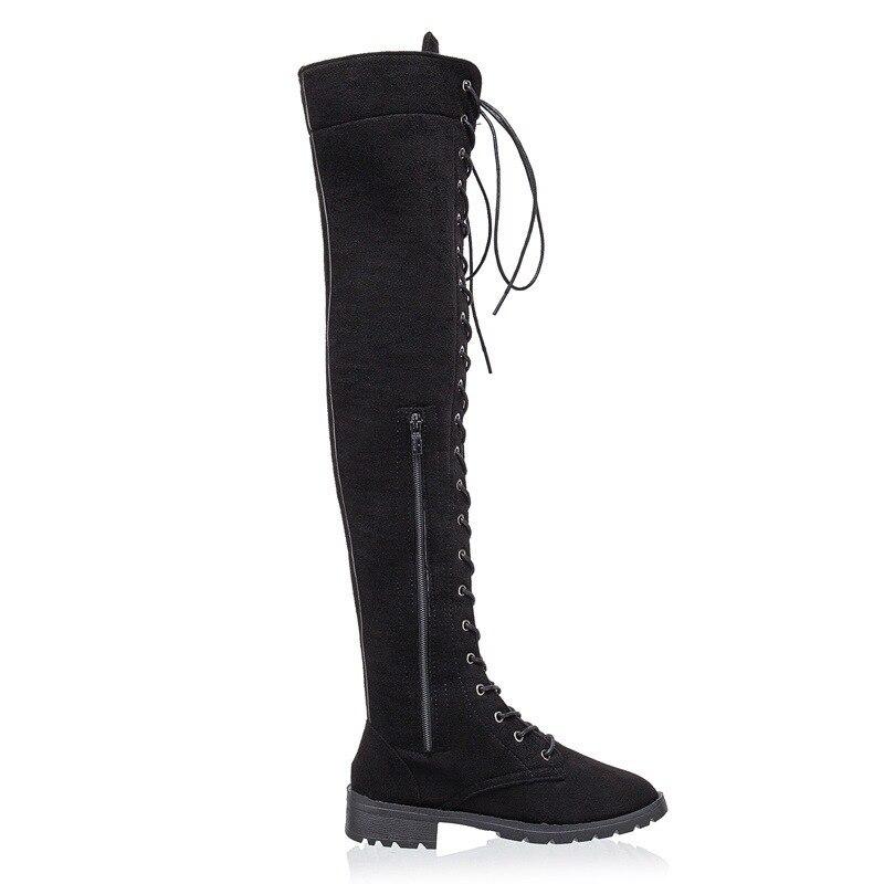 Zapatos Nieve Mujeres Mujer Rodilla Xp negro 2018 Plana verde Largas Altas Up marrón Botas 94 Del Nuevas Khaki Danza De Tobillo Canvas Moda Lace I8Tw8