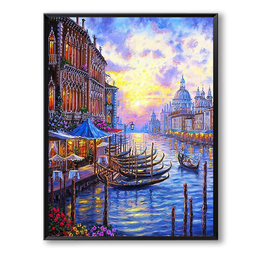 Venice Boat Night Sunset DIY Painting By Numbers Wall Art Paint On Canvas Hand Painted W ...