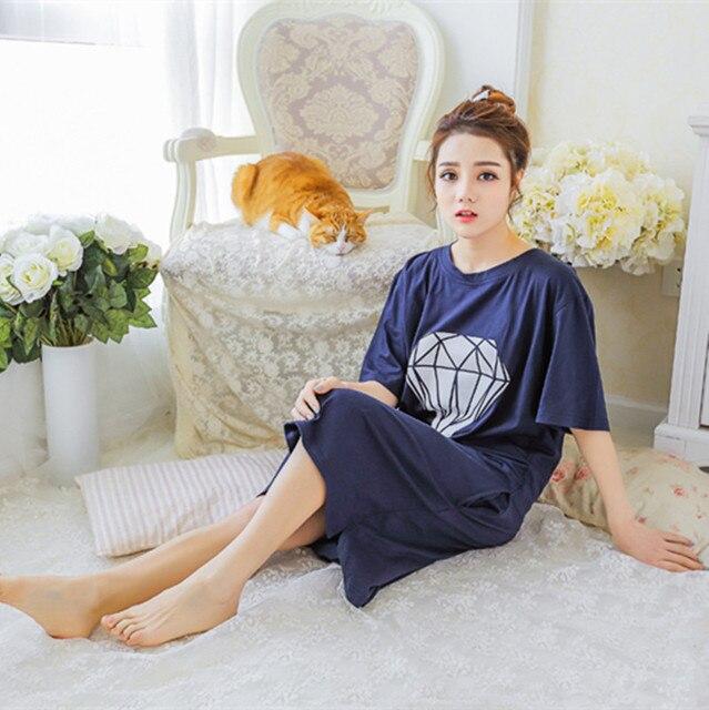 Letter Pattern Short-Sleeved Pijama Women Sleepshirt Sleepwear Loose Soft Cute Nightgown Robe Night Dress Gecelik Sexy Lingerie