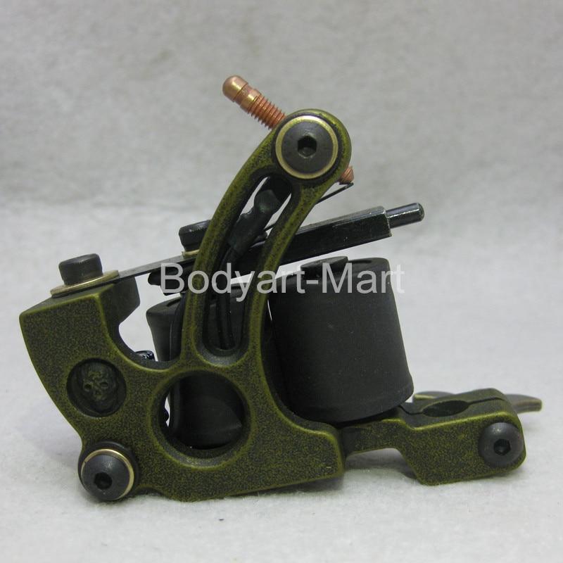 New Top Shader Liner Tattoo Machine 10 Warp Coil Green Tattoo Gun For Beginner GAM14-D#