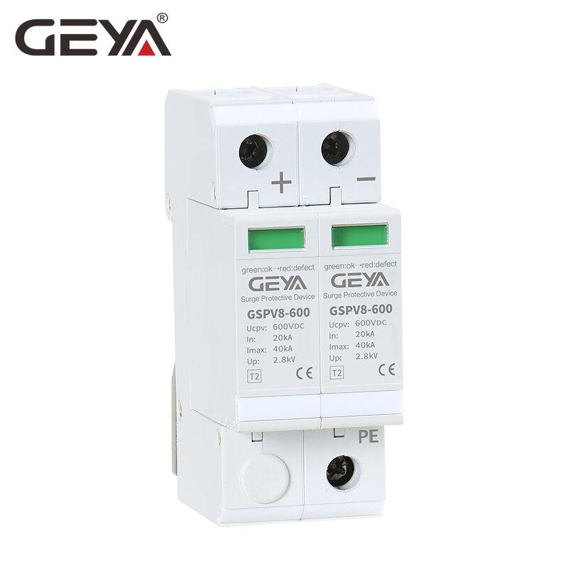 GEYA 2P DC Dispositivo de Proteção Contra Surtos SPD 600V 40KA 50/60Hz SPD DC 500V Sobretensão protetor