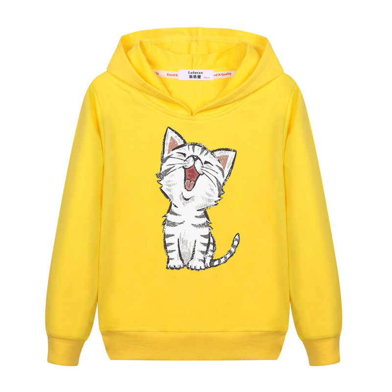 2021 New Sweet Cute Cat Print Hoodie Boys Hoodies Sweatshirt Pullovers Clothes Kids Girls Cotton Harajuku Kawaii Tops 1