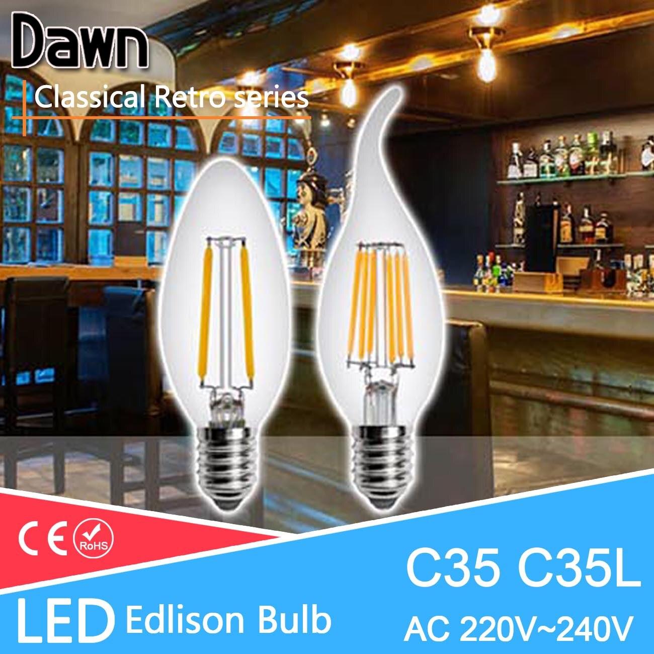 Vintage edison bulb old fashioned lamp classic a60 led 2w or 4w - Classical Vintage Glass Led Edison Lamp E14 Vintage Led Bulb 220v Retro Led Filament Light Candle