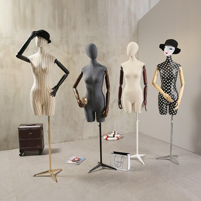 Реквизит женский манекен полутело Подставка стойка для одежды высокое качество мода манекен для женщин ткань с деревянными руками