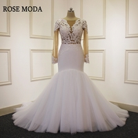 Rose Moda Sexy Mermaid Wedding Dress 2018 Long Sleeves Wedding Dresses with Lace African Wedding Gowns Real Photos