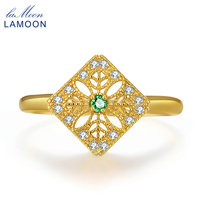 LAMOON 2mm Round Cut Green Emerald 925 Sterling Silver Jewelry Wedding Ring With 14K Yellow Gold