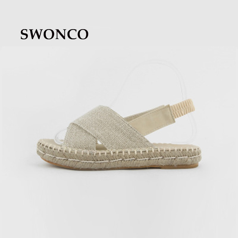 SWONCO Women's Sandals 2018 Summer Straw Hemp Platform Shoes Sandals Women Beach Concise Shoes Slip On Solid Color Female Shoe free shipping candy color women garden shoes breathable women beach shoes hsa21