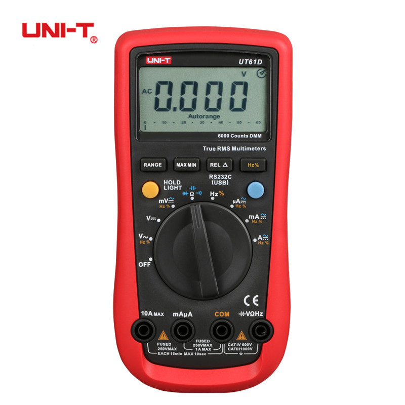 UNI-T UT61A UT61B UT61C UT61D UT61E Modern Digital Multimeters RMS RS232 REL AC DC Amperemeter 22000 Count Auto Range Test Meter мультиметр uni t uni trend uni t ut203 rel dc ac 400a uni ut203 400a