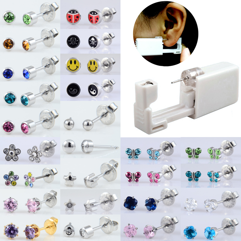BOG-1Unit Sterlised Disposable Safety Ear Nose Piercing Device Machine Tools Ear Piercer Sterile Bezel Crystal Stud Body Jewelry