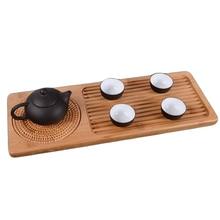 Kung Fu té bandeja de mesa pequeña mesa de té de bambú de madera pura tradicional para tetera platillo almacenamiento mostrar y serveing té