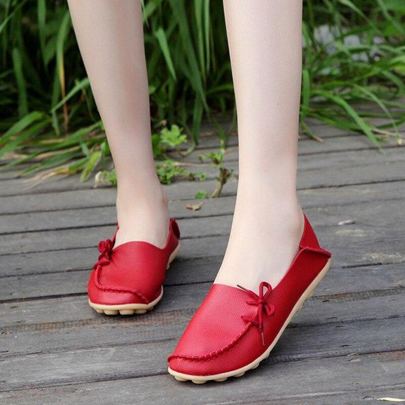 цена на New Arrival genuine Leather Flat Women Flats Shoes Women Square Toe Bowtie comfortable Shoes buty damskie