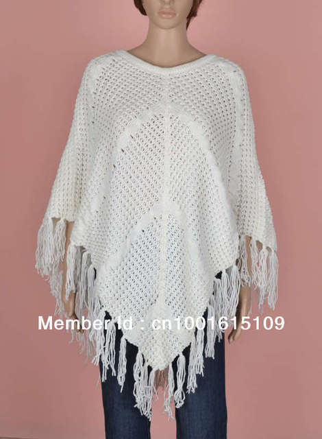 Womens White Cable Knit Angle Hem Fringes Poncho Sweater Top In