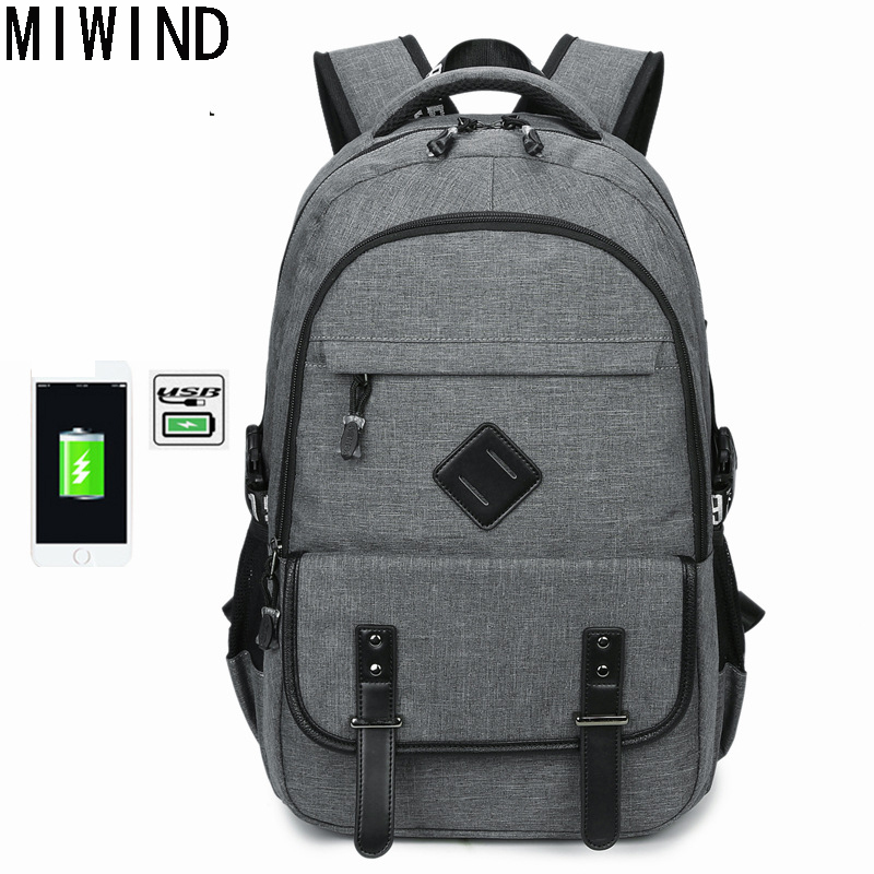 MIWIND  Men Backpack Cool 2017 High School Bags for Teenage Book Bag Compact Men's USB Backpacks School Book Bagpack TSM1164 mens branded luxury fashion watch men automatic ultra thin gold full steel mesh watches men dress mechanical watch orologio uomo