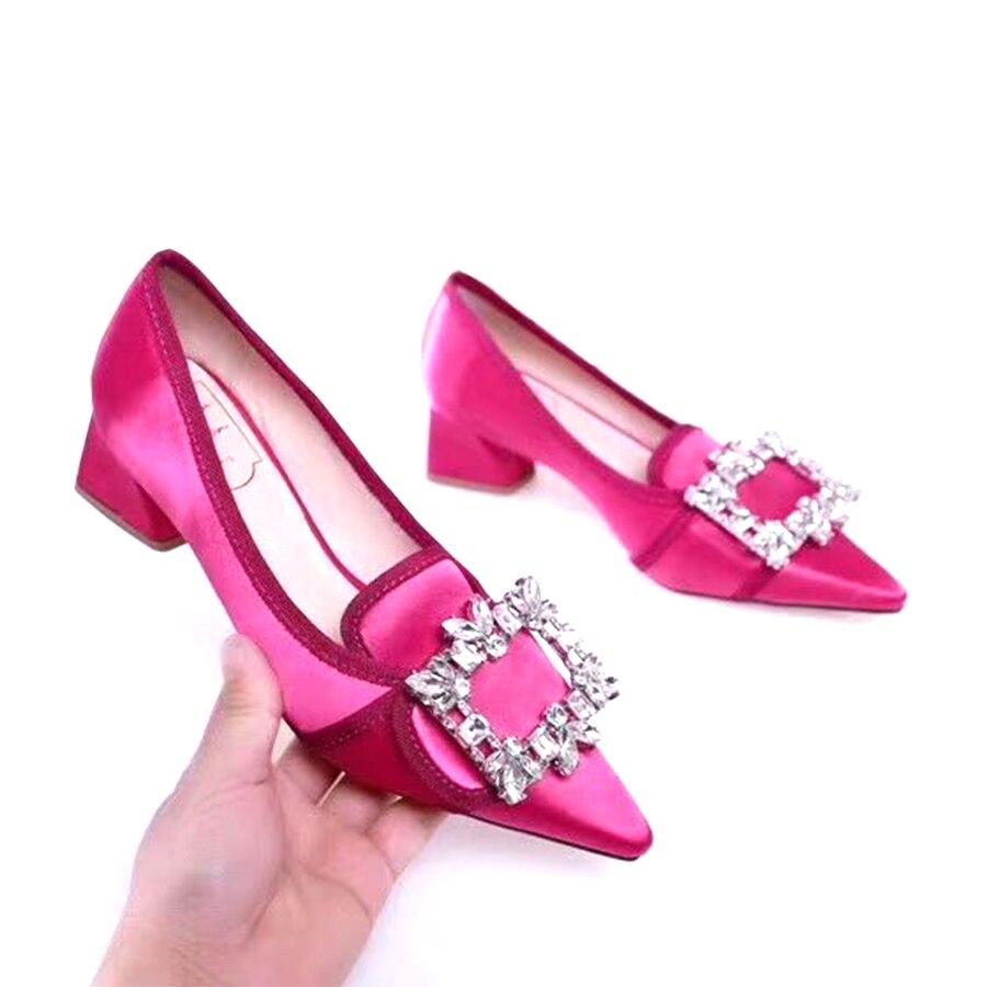 JAWAKYE Pointed Toe Square Heel Shoes woman Rhinestones buckle Shallow Mouth Silk Single Shoes Bridal Wedding