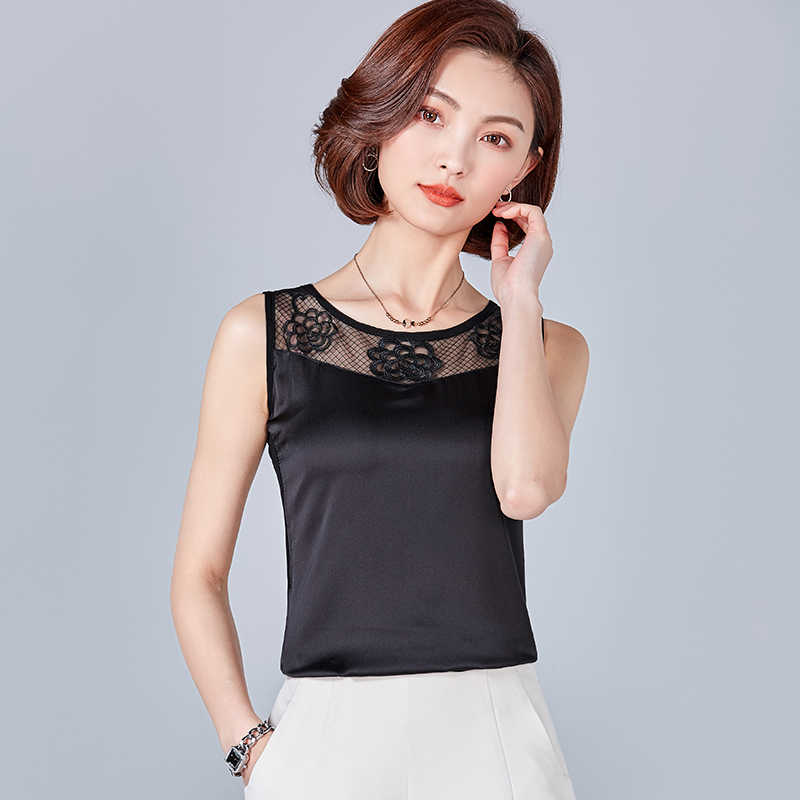 Womens Tops and Blouses Casual OL Silk Blouse Summer Basic Satin Lace Shirt Work Wear Blusas Feminina Tops Shirts Plus Size XXXL