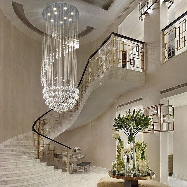 Double Staircase Pendant Lamp Crystal Chandelier Simple European Style  Living Room Lights Crystal Pendant Cristal Led