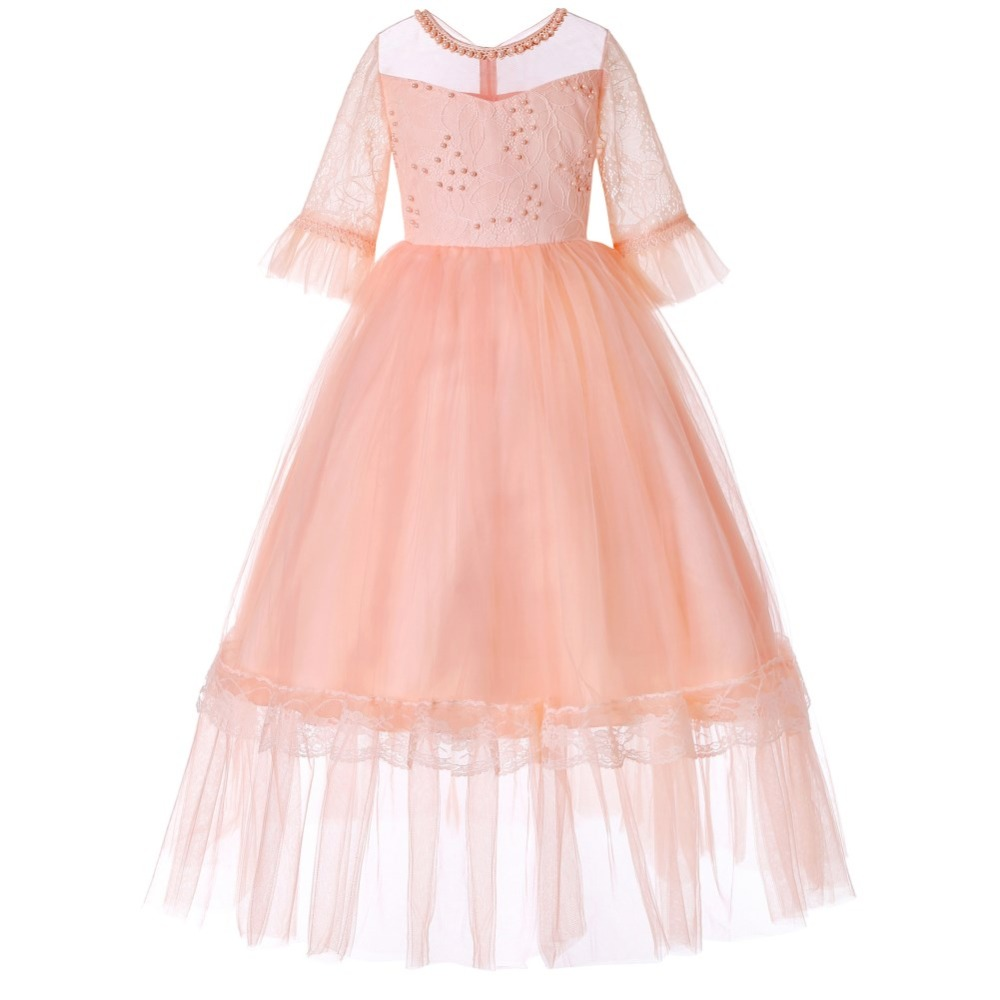 Little Girls Wedding Gowns: Little Girls Beads Lace Princess Dress Flower Girl Wedding