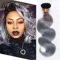 Ombre Onda Del Cuerpo 1B # gris ombre cabello humano 3 unids Indio del pelo ombre armadura onda del cuerpo 2 tono de color gris gris ombre onda del cuerpo del pelo