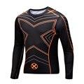 2016 Новый Фитнес Сжатия Рубашка Мужчины Супермен Crossfit Бодибилдинг Длинным Рукавом 3D Майка Топы Рубашки