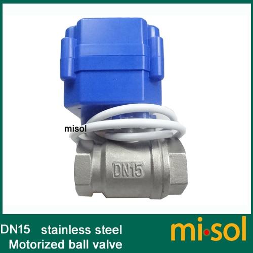 Misol G1/2 DN15 motorized ball valve 9-24VDC CR04, Stainless steel, electrical valveMisol G1/2 DN15 motorized ball valve 9-24VDC CR04, Stainless steel, electrical valve