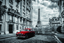Laeacco City Buildings Tower Red Car Photography Backgrounds Digital Customized Photographic Backdrops For Photo Studio