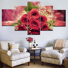 Canvas Paintings Home Decor Living Room Wall Art 5 Pieces Red Rose Flowers Pictures Modular Prints Petal Poster Framework