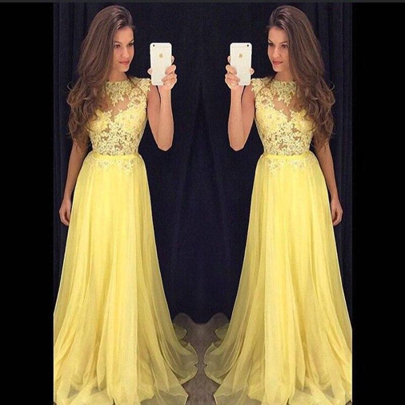 Красивые жёлтые длинные платья