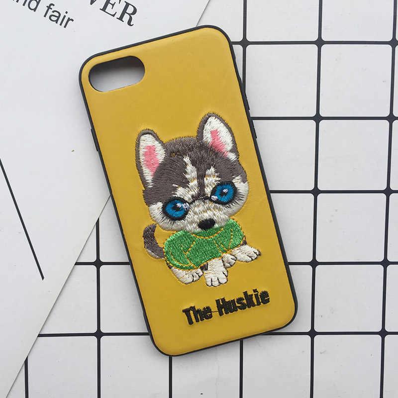 Tfshining Bonito 3D Bordado Tampa Do Caso Para o iphone XS Max XR X 6 6 s 7 8 Mais Suave Completa cão de Pelúcia Husky Dog Pug Caso Do Telefone Móvel