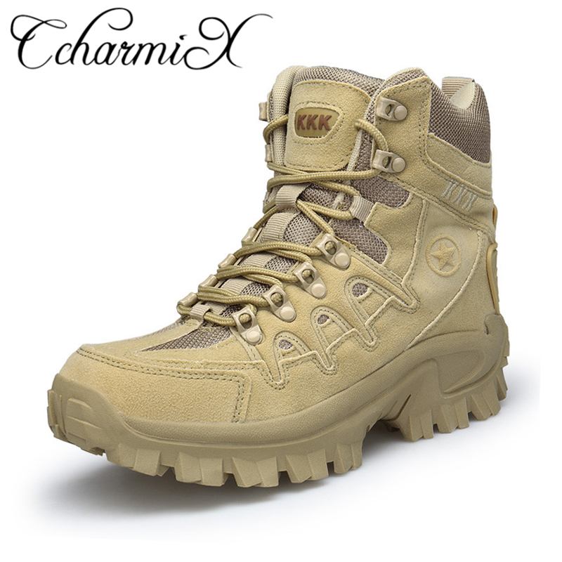 CcharmiX Winter/Autumn Men Military Leather Boots Special Force Tactical Desert Combat Boats Outdoor Shoes Army Boots Big Size men military delta special force tactical boots men s army outdoor desert combat boots shoes botas hombre