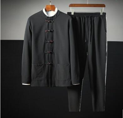 Chinese Martial Arts Suit Men's Baseball Uniform Wind Button Buckle Shirt Retro Wind Large Size Trend Autumn Thin Coat
