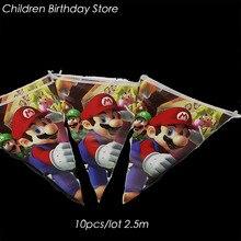 10 pz/lotto Super Mario Bros partito banner Super Mario Bros decorazioni della festa di compleanno Super Mario Bros partito bandiere