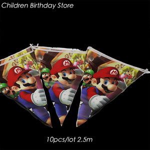 Image 1 - 10pcs/lot Super Mario Bros party banners Super Mario Bros birthday party decorations Super Mario Bros party flags