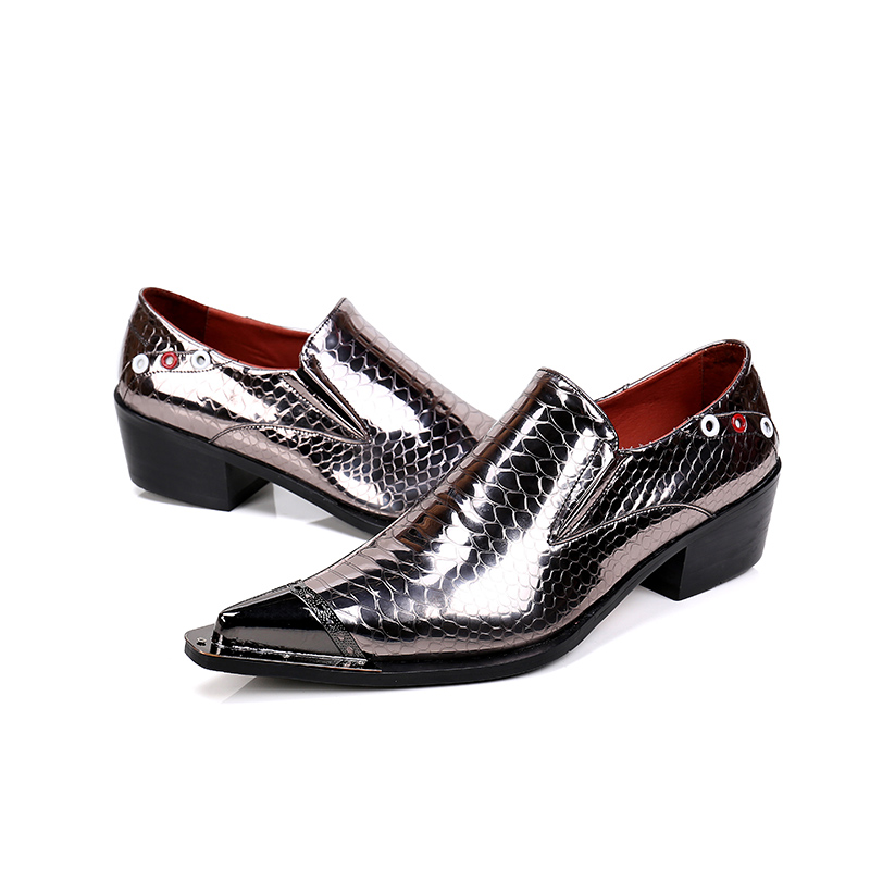 2017 Luxury Men's Fashion Italian Shoes Men Leather Spiked Heels Wedding Dress Shoes Shiny Mens Luxury Loafers Plus Size 38-46 2017 new fashion italian designer formal mens dress shoes embossed leather luxury wedding shoes men loafers office for male
