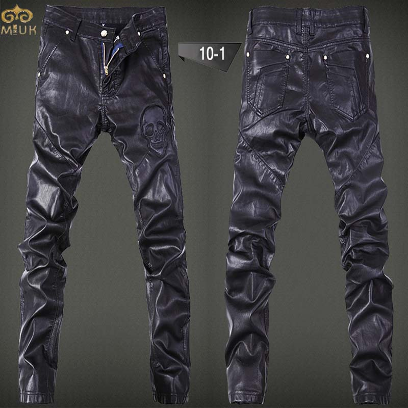 MIUK Large Size PU Leather Pantalon Homme 36 34 Brand Clothing Leather Pants Hip Hop Cargo Pants 2017 New Arrival Mens Joggers