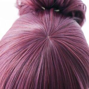 Image 5 - LOL New Skin K/DA Cosplay Wigs Akali Cosplay Headwear Game LOL KDA 45CM Mixed purple Heat Resistant Synthetic Hair Wig