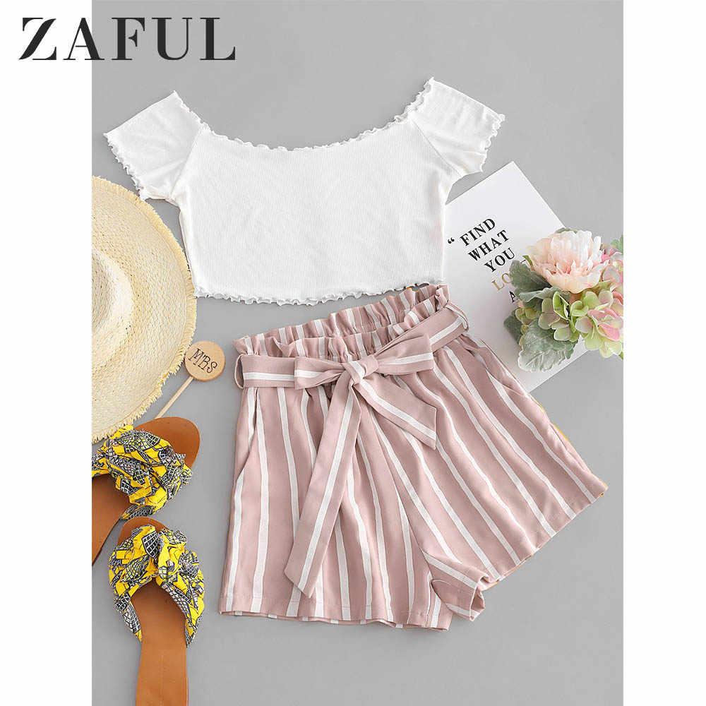Zaful Wanita Set Kontras Off Bahu Top dan Stripes Celana Pendek Set Pendek Lengan Kantong Elastis Tinggi Pinggang Manis 2 Buah set