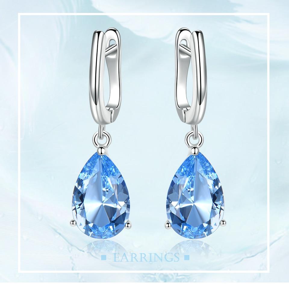 UMCHO Genuine 925 Sterling Silver Clip Earrings for Women Nano Blue Topaz Gemstone Engagement Wedding Anniversary Fine Jewelry