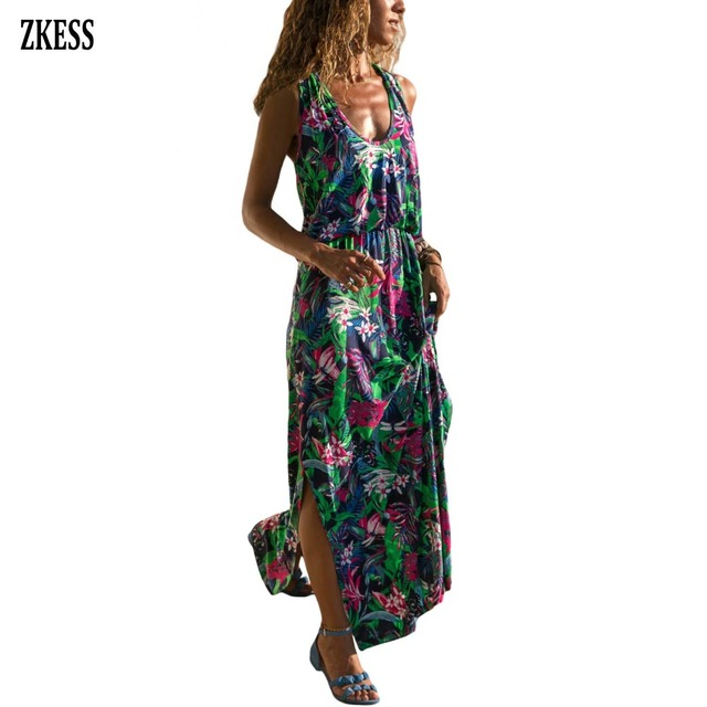 da7c2fad35d ZKESS Women Green Twist Back Long Tank Floral Print Boho Dress Fashion Casual  Sleeveless V Neck Hollow-out Maxi Dress LC611069