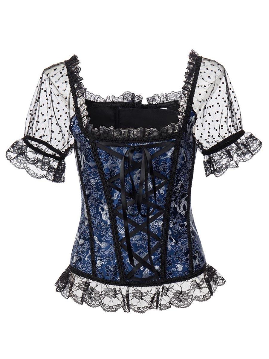 Rosetic Gothic Corsets Women Vintage Lace Steampunk Lace up Back Bustiers Corsets Tops Plus Size Waist Trainner Slim Corsets