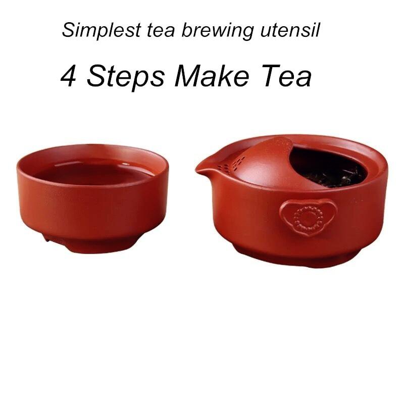 150ML Қытайлық Yixing шай пюресі жиынтығы Саяхатқа арналған күлгін шайыр Шайнекті кілемшелер Zisha Travel Drinkware