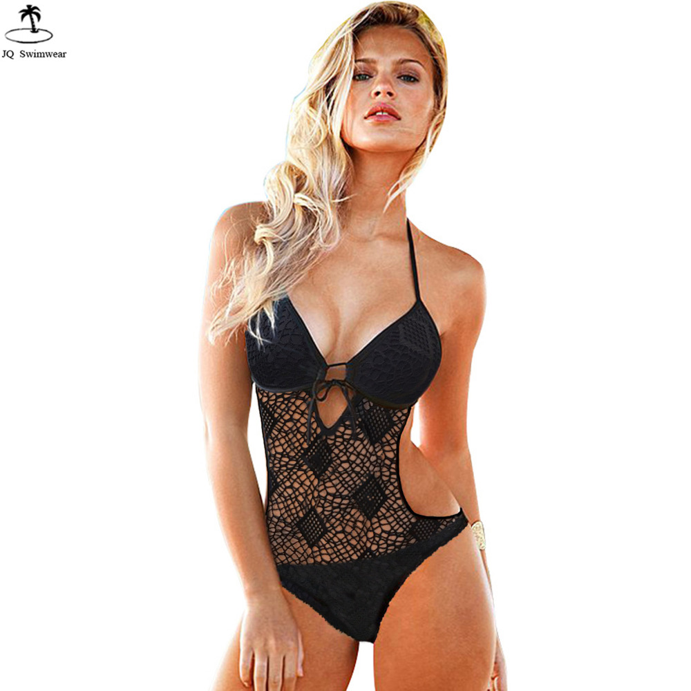 2017 New Swimsuit Womens Vintage Bathing Suit Deep V Hollow Lace Mesh One Piece Monokini Bandage Backless Beach Wear Swimwear women solid one piece swimsuit halter backless bandage bodysuit monokini deep v neck sexy high waist vintage beach wear